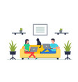 happy man and woman sitting on sofa with laptop vector image