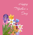 happy mothers day pink card with spring flowers vector image vector image