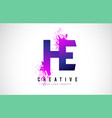 he h e purple letter logo design with liquid