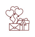 heart balloons with gift box isolated icon vector image vector image