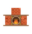 home fireplace with fire vintage design of vector image vector image