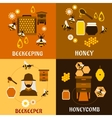 Honey concept with bees beehives and honeycombs vector image vector image