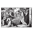 jesus raises the son of the widow of nain vintage vector image vector image