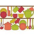 Kitchen utensils on shelves - seamless pattern vector image vector image