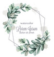 leaves abstract wreath frame watercolor vector image