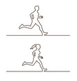 line silhouettes runners set linear vector image