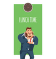 male businessman wearing suit smell pizza slice vector image