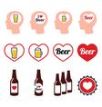 Man loving beer icons set vector image