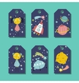 Price Tag with Space Cartoons Set vector image vector image