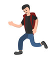 running boy with backpack icon cartoon style vector image