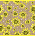 seamleess background with yellow sunflowers vector image vector image