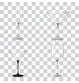set cocktail glasses for alcohol vector image