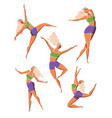 set dancing girl poses female character vector image