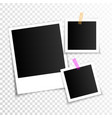 set empty photo frames with adhesive tape vector image