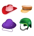 Set of Hats and Helmet on White Background vector image