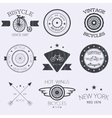 set of old bikes shop logo set vector image vector image
