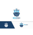 ship logo combination boat symbol or icon vector image vector image