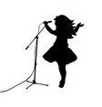 silhouette girl music sings in microphone vector image vector image