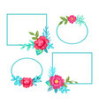 squared frames and flowers set vector image