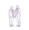 two business man silhouette sketch discuss vector image vector image