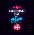 valentines day sale banner neon vertical vector image