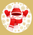 warm set winter knitted scarf mittens and hat vector image vector image