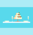 wedding reception at restaurant cake with berries vector image vector image