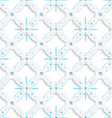 White perforated ornament with blue snowflakes vector image