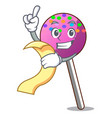with menu lollipop with sprinkles mascot cartoon vector image