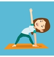 Woman practicing yoga triangle pose vector image vector image