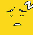 yellow smiling cartoon face sleep emoji people vector image