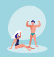 young couple in the beach with swimsuit vector image