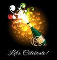 champagne bottle explosion selebration poster vector image