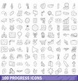 100 progress icons set outline style vector image vector image