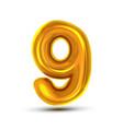 9 nine number golden yellow metal letter vector image vector image