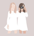abstract girls silhouettes friends together vector image vector image
