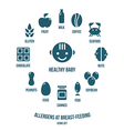 Allergens at breast feeding icons vector image