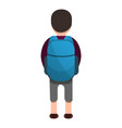 back side of boy backpack icon cartoon style vector image