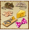 Big mouse set and symbols cheese and other vector image