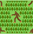 bigfoot in forest pattern seamless yeti and trees vector image vector image