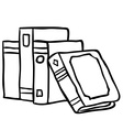 black and white books vector image vector image