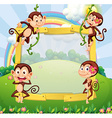 Border design with monkeys in the park vector image vector image
