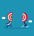 business holding target teamwork to reach vector image vector image