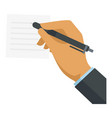 businessman hand writing icon flat style vector image