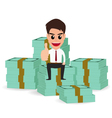 businessman sitting on money stacks vector image vector image