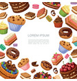 cartoon cakes and desserts background vector image vector image