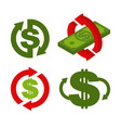 cash back icon set symbol is return of money sign vector image vector image