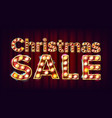 christmas sale sign 3d electric glowing vector image vector image