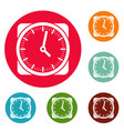 clock retro icons circle set vector image vector image