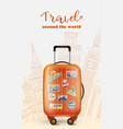 colorful suitcase on template vector image vector image